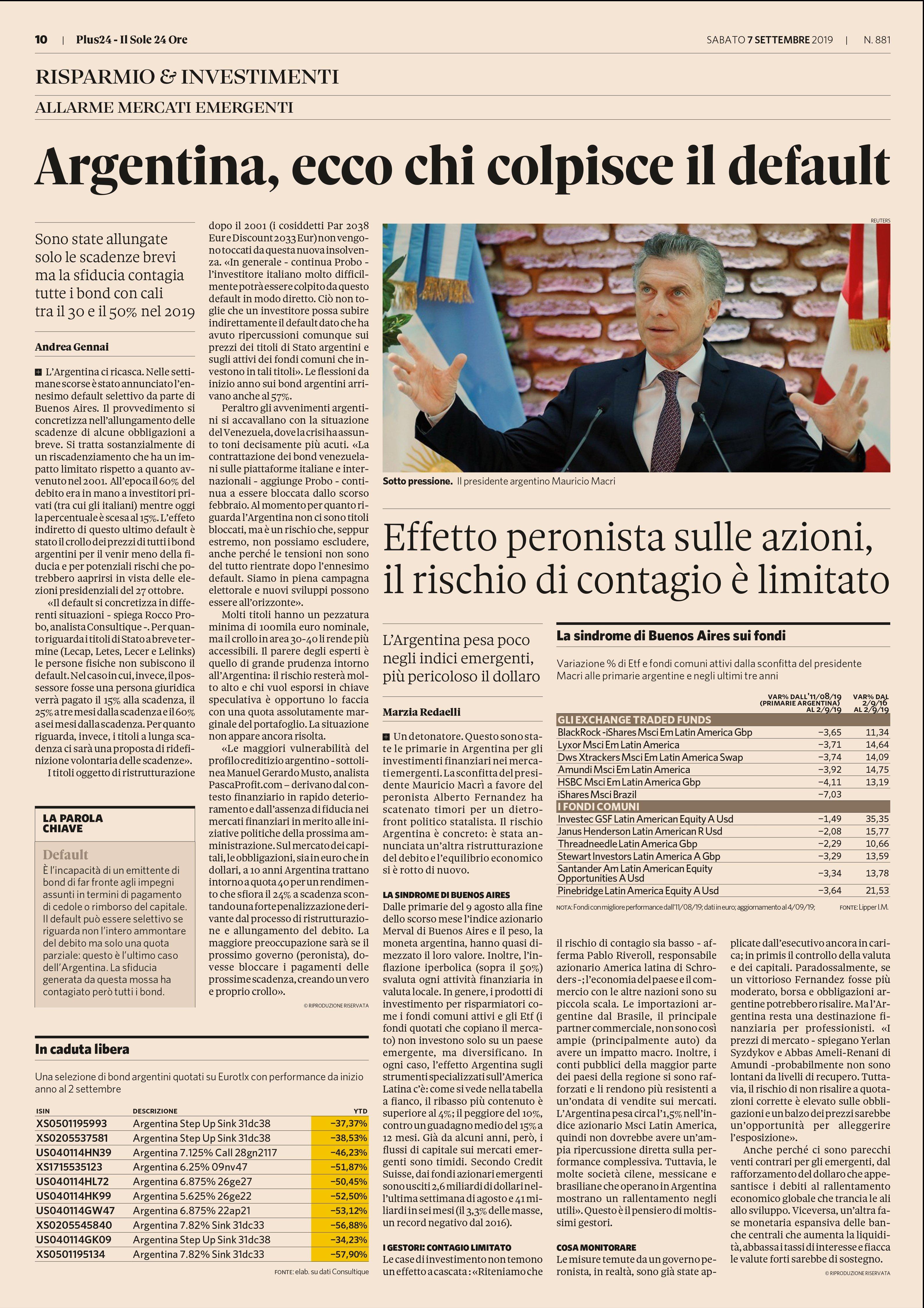 Articolo del sole24ore - Argentina, ecco chi colpisce il default